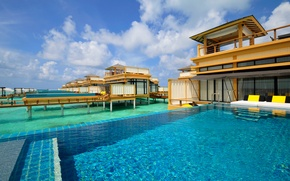 Picture the sky, tropics, pool, house, resort, Bungalow