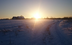Picture village, the sun, winter, sunset