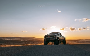 Picture road, the sky, the sun, clouds, hills, lights, shadow, Chevrolet, valley, horizon, wheel, rear view, …