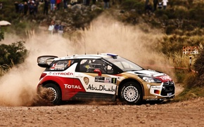 Picture Dust, Turn, Citroen, DS3, Loeb, WRC, Rally, Rally