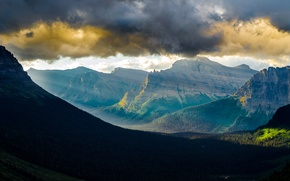 Picture the sky, clouds, mountains, USA, USA, Glacier National Park, Glacier national Park, state Montana, Glacier, …