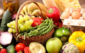 Picture apple, Apple, eggs, cheese, cucumber, strawberry, grapes, bananas, tomatoes, background, cheese, pepper, tomato, Grapes, Fruit, …