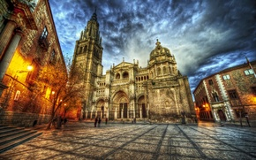 Picture street, HDR, area, lights, temple, Spain, Spain, Catedral, Temples