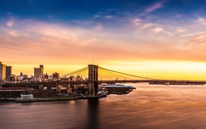 Picture the sky, bridge, dawn, coast, Bay, USA, Brooklyn