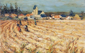 Picture picture, landscape, Marseille Dif, harvest, home, trees, Women in wheat field
