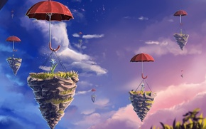 Picture flower, the sky, clouds, umbrella