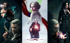 Picture Art, Triss Merigold, The Witcher 3: Wild Hunt, Geralt, The Witcher 3: Wild Hunt, Yennefer