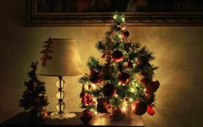 Wallpaper decoration, table, tree, lamp, Christmas