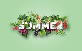 Picture summer, berries, raspberry, strawberry, grapes, summer, Design, sea buckthorn, Dipanjan Karmakar