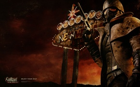 Picture lights, neon, soldiers, Vegas, Fallout, revolver, New Vegas