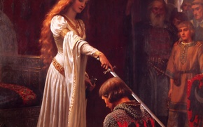 Wallpaper Queen, ritual, knight, sword, sword, ritual, knight, castle, picture, armor, picture, romanticism, English painter, English ...