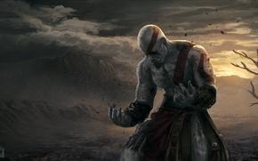 Picture warrior, god of war, kratos, sony, art, Spartan