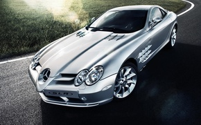 Picture Mercedes-Benz, SLR, silver, Blik, Mercedes Benz, silvery, Tomirri photography
