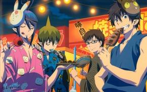 Picture fish, mask, sweets, Anime, anime, Ao no Exorcist, Rin Okumura, blue exorcist, Yukio Okumura, Mephisto, …