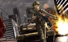 Picture girl, the city, weapons, tank, battlefield, gesture, art, soysoy68