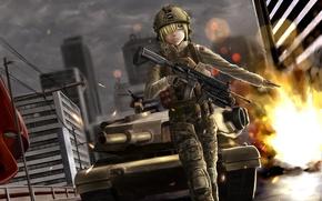 Wallpaper girl, the city, weapons, tank, battlefield, gesture, art, soysoy68