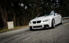 Picture road, white, bmw, BMW, speed, turn, white, e92