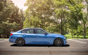 Picture BMW, wheels, side, Vorsteiner, blue, 328i, f30