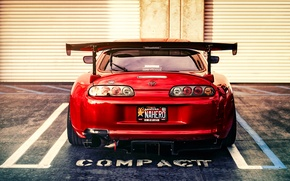 Picture tuning, sports car, Toyota, red, rear view, Supra