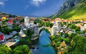 Picture trees, mountains, bridge, nature, river, home, town, landscape., Alpine