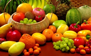 Wallpaper watermelon, grapes, bananas, fruit, pineapple, still life, vegetables, tomatoes, garnet, tangerines, paprika, krinke, melon, the ...
