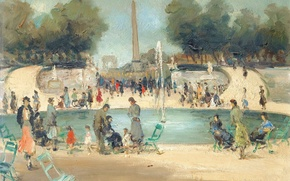 Picture trees, landscape, Park, people, picture, fountain, The Tuileries Garden, Marseille Dif