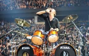 Picture concert, drums, Creek, Metallica, stadium, fans, call, drum set, Lars Ulrich, Lars Ulrich, Drums, Tama