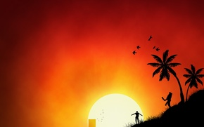 Wallpaper the sun, palm trees, vector, people