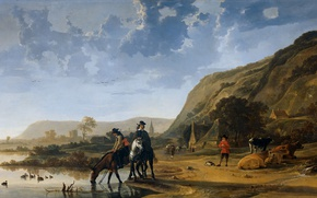 Picture landscape, people, horse, picture, Albert Jacobs Cape, River Landscape with Riders
