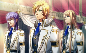 Picture hall, guys, friends, long hair, three, art, green eyes, military uniform, the ceremony, visual novel, ...