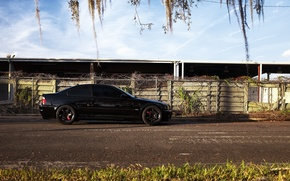 Picture grass, black, bmw, BMW, coupe, shadow, profile, drives, black, e46