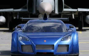 Picture blue, supercar, the plane, the front, apollo, gumpert
