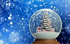 Picture background, new year, gifts, tree, herringbone, snow, snow globe, 2015