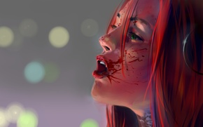 Picture look, girl, blood, BloodRayne, red hair. profile. fangs
