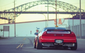 Picture car, machine, tuning, back, desktop, red, car, red, jdm, tuning, wallpapers, acura, nsx, Acura, automobiles