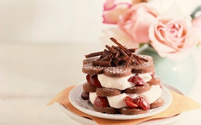 Picture cherry, the sweetness, food, chocolate, roses, cake, cream, dessert, delicious