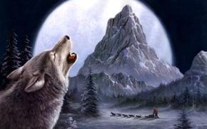 Wallpaper winter, wolves, painting, Tok Hwang