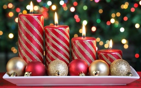 Wallpaper flame, Christmas balls, holiday, candles, fleme, new year, candle, strips, new year, sequins, fire, fire