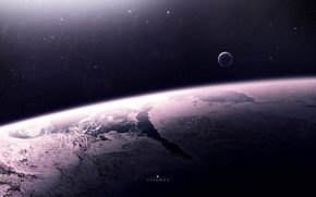 Wallpaper surface, space, stars, planet, satellite, the atmosphere