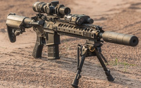 Picture military, floor, assault rifle, telescopic sight