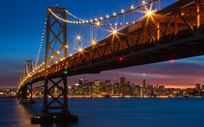 Picture bridge, lights, CA, San Francisco, night city, California, San Francisco, Bay Bridge, San Francisco Bay, ...