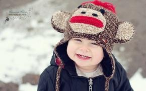 Picture children, smile, background, Wallpaper, mood, hat, figure, laughter, boy, jacket, wallpapers