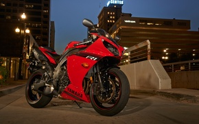 Picture red, red, Yamaha, bike, road, motorcycle, the city, lights, the evening, shadow, yzf-r1, yamaha