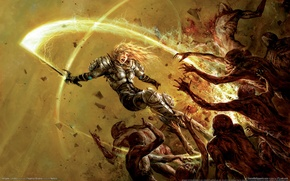 Wallpaper monsters, blood, girl, sword, Hellgate London, warrior, armor