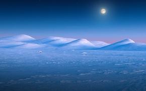 Picture winter, snow, sunset, hills, the moon, Norway, Jotunheimen, Valdresflye