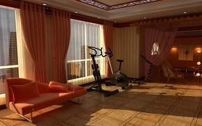 Wallpaper design, style, room, sofa, interior, apartment, the place for sports, trainer, the gym