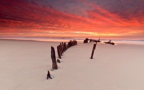 Wallpaper sand, sea, beach, sunset, skeleton, vehicle