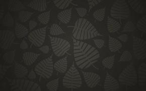 Picture dark, Leaves, black, grey, background