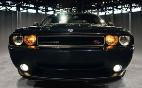 Picture black, Shine, garage, dodge challenger rt