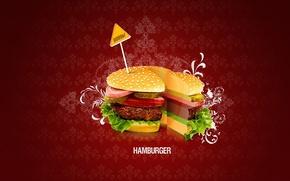 Picture minimalism, vector, Hamburger